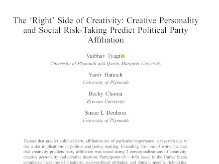 Vaibhav Tyagi publishes in the Creativity Research Journal
